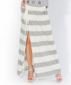 Love this! Perfectly nautical cabana striped White & Gray Logi Maxi Skirt