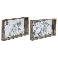 Perfect as an artful canvas for an eclectic candle arrangement or for serving mimosas at your next brunch, this distressed wood tray showcases a mirror-finis...
