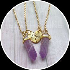 "Best Witches SILVER : https://www.etsy.com/listing/264423473 Best Friends: https://www.etsy.com/listing/274242258 Sold as a set (Qty 1 = two necklaces) Your choice of gemstone pendants, on 18"" gold plated brass chain, with gold plated tibetan silver alloy Best Witches pendants (3/4"" tall) Ships in a little baggie with glitter, jewelry care and gemstones properties card, ready to give to your bestie! GEMSTONE HEALING LIST Amethyst : Spirituality, Meditation, Addiction release, restful slee..."