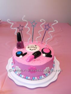 Sweet Makeup Cake For An 8 Year Old Girl... This website is the Pinterest of birthday cake ideas