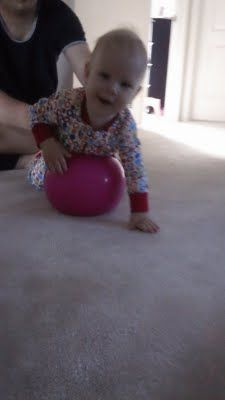 Fun balancing activity for 6-12 month olds.