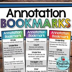 Help students develop a practical, useful, and efficient method for annotating three types of text with these annotation bookmarks. There is a full color and black & white bookmark for non-fiction, fiction, and poetry. These bookmarks are included in my Annotating Text, Annotating Fiction, and Annotating Poetry...