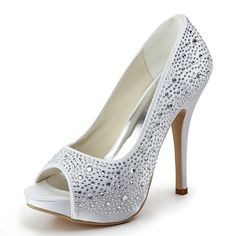 """Dyeable Fashionable 5"""" Studded with Rhinestones Peep-toe Pumps - Ivory Satin Wedding Shoes (11 colors) -  visit the outlets at Brides book for more great deals from retailers from around the globe at http://www.brides-book.com"""