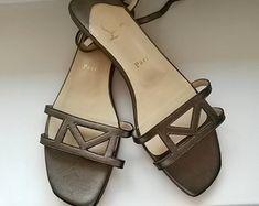 Christian Louboutin Shoes Leather Sandals Golden Gold Colour Summer Open Toe Flats Shoes Roman Numbers Flats T Strap Sandals
