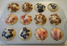 Pancake Bites. Use your favorite pancake mix, pour into muffin tins, add fruit, nuts, chocolate chips, etc. Bake at 350 for 12-14 minutes. Awesome for school mornings. :)