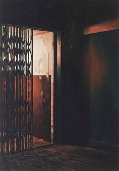 Gillian Carnegie (British, b. 1971), Elevator, 1999. Oil on masonite, 130.2 x 23.1 cm.
