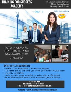 Join our 👨‍🎓👩‍🎓 IATA-HARVARD LEADERSHIP AND MANAGEMENT DIPLOMA Course and get trained for your dream job with this full 6 months course. #TravelandTourism #Travelandtourismindustry #Careerintravelindustry #2020INTAKE #Benoni #SouthAfrica