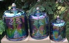 Carnival Heaven Carnival Glass Research Site Fenton Glassware, Antique Glassware, Vintage Kitchenware, Vintage Dishes, Antique Dishes, Blue Carnival Glass, Glass Canisters, Kitchen Canisters, Vintage Bottles