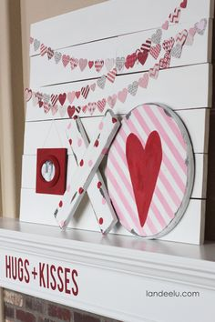 Valentine's Day Mantel: Hugs and Kisses Valentines Day Treats, Valentine Day Love, Valentine Day Crafts, Valentine Ideas, Valentine Banner, Holiday Crafts, Diy Valentine's Day Decorations, Valentines Day Decorations, Saint Valentin Diy