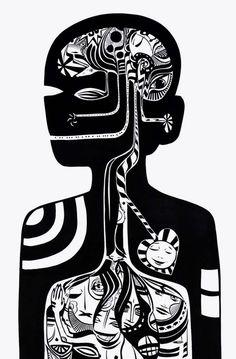 Lucy McLauchlan; head, brain, graphics, graphic design, black  white, art, illustration