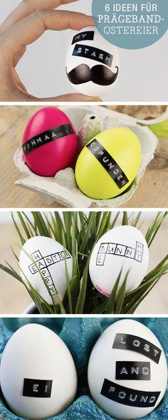 DIY-Inspiration: Ostereier mit Prägeband verzieren / diy inspiration: decorate easter eggs with handwritign or sticker via DaWanda.com
