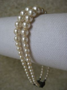Pearl Two Strand Bracelet White Vintage by vintagejewelryalcove, $22.50