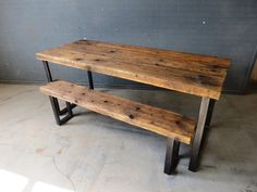 Reclaimed Industrial Chic 6-8 Seater Solid Wood and Metal Dining Table.Bar and Cafe Bar Restaurant Furniture Steel and Wood Made to Measure by RCCLTD on Etsy https://www.etsy.com/listing/199680955/reclaimed-industrial-chic-6-8-seater