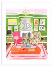 """Living Room by Caitlin McGauley  Summer Series  Signed Giclee print on watercolor paper  Paper size: 11""""x14""""  Image size: 9""""x12""""  $75"""