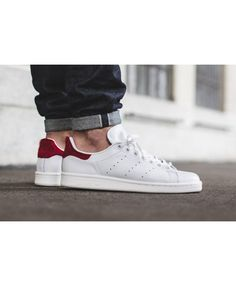 sale retailer 22eea b8290 Adidas Stan Smith Mens White Red Traniers Adidas Stan Smith Red, Stan Smith  Men,