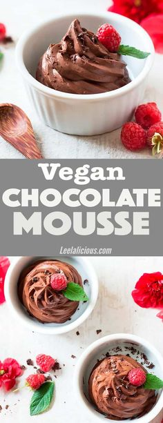 This divine vegan chocolate mousse can be whipped up with as little as 2 ingredients. A perfect easy recipe for dark chocolate lovers! This dairy free dessert is also paleo friendly and clean eating, and can be used as healthy cake frosting. #vegan #chocolatemousse #chocolate #darkchocolate #mousse #dairyfree #paleo Coconut Cream | Simple | Best | Maple Syrup | Coconut Whipped Cream | Egg Free