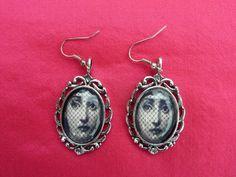 Earrings silvered medallions woman in the hat by LeRicheAttirail, $15.00
