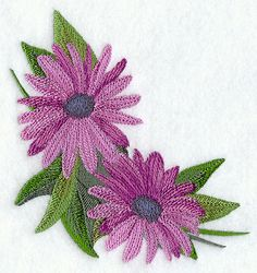 "Definitely Daisies Corner	Product ID:	E6121 Size:	4.86""(w) x 4.86""(h) (123.4 x 123.4 mm)	Color Changes:	12 Stitches:	32182	Colors Used:	9 2 SIZES"