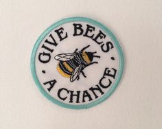 Give bees a chance / iron on patch / feminist embroidery / vegan badge by halfstitchembroidery
