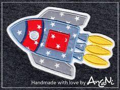 Aufnäher - Aufnäher Rakete ♥ Applikation Rakete - ein Designerstück von AnCaNi bei DaWanda