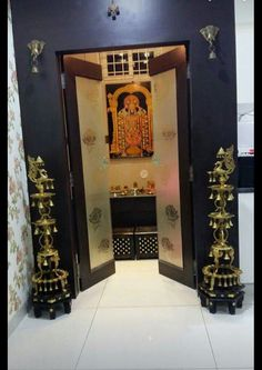 Pooja Room Door Design, Door Design Interior, Home Room Design, House Design, Interior Designing, Indian Room, Indian Home Decor, Indian Art, Temple Room