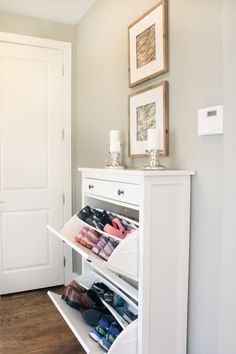 An Ikea shoe cabinet is a perfect addition to organize a mudroom or entryway