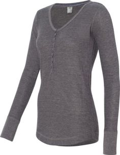 J. America Ladies` Thermal Deep Scoop Henley. 8252 - X-Large - Charcoal Heather for only $20.00