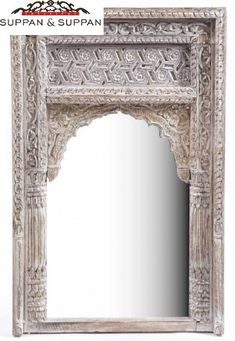 Geschnitzter Indischer Spiegel In Weiß Gekalkt, Fensterrahmen Spiegel