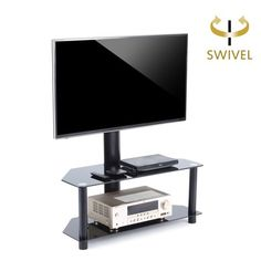 Rfiver TV Stand with Swivel Mount and Height adjustable Bracket for 32 to  55 inch LCD LED QLED Plasma TVs,Curved TVs and Glass Media Storage Shelf  Black ... 781a3b6d918b