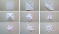 fremgangsmåte enkel papirstjerne  DIY - paperstar Origami, Cards, Christmas, Xmas, Origami Paper, Navidad, Maps, Noel, Playing Cards
