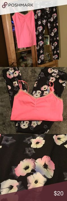 Victoria's Secret cami & SO yoga leggings Set of a Victoria's Secret neon orange cami and SO Yoga floral leggings. Both gently worn 2 times. From non smoking home. Both size Medium Victoria's Secret & SO Other