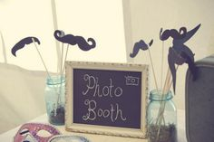 Country Chic DIY Wedding Details {Part 2} | Confetti Daydreams - DIY photo booth with chalboard sign and photo props ♥ #CountryChic #Burlap #Lace #DIY