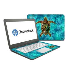 DecalGirl HP Chromebook 14 skins feature vibrant full-color artwork that helps protect the HP Chromebook 14 from minor scratches and abuse without adding any bulk or interfering with the device's operation.   This skin features the artwork Sacred Honu by Al McWhite - just one of hundreds of designs by dozens of talented artists from around the world.