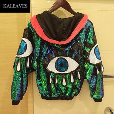 Stage Performance Women Jacket 2016 Autumn Sequined Big Eyes Hip Hop Dance Clothing Female Sexy Jackets With Hats(China (Mainland))