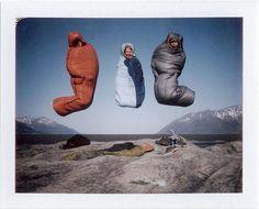 Jump in a sleeping bag