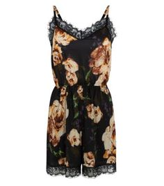 Black and Cream Floral Lace Trim Playsuit