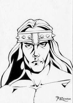 #Conan #Barbaro #warrior #guerrero #arnoldarnoldschwarzenegger #actor #comic #roberthowart #fantasy #epic #movie #film #retrato #retrair #picture #draw #dibujo #tintas