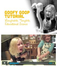 {Goop. Gak. Flubber.} Call it what you wish. This slimy, stretchy, science recipe is ideal for experimenting on a rainy day, plus it's educational. The giggling makes me laugh: http://letslassothemoon.com/2012/04/24/goofy-goop/