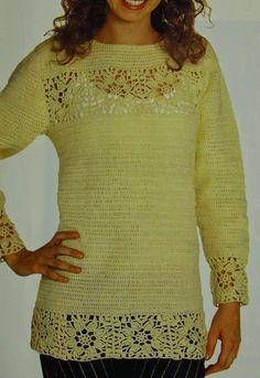 Ponto do Bordado: Blusas de crochê femininas com gráficos