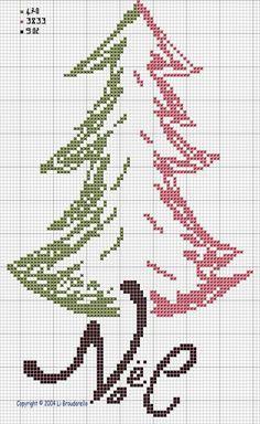 Cross stitch pattern Tree Tricolore