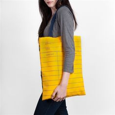 Library Card Tote Bag in yellow.