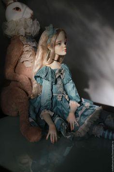 Купить кукла Маленькая Алиса - голубой, аквамарин, морская волна, алиса в стране чудес, алиса