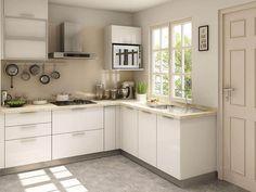 L-Shape Simple Kitchen Design for small house. Source-simopsstudios