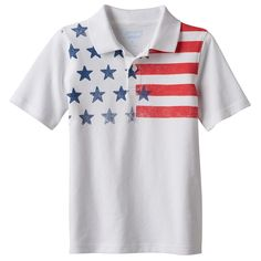 Boys 4-10 Jumping Beans® Stars & Stripes Yoke Pique Polo Shirt, Size: 7X, White