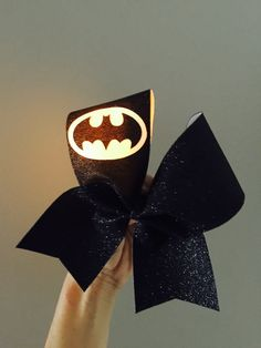 Full Black Glitter Light Up Batman Cheer Bow! Yellow light!!! Free shipping! Ponytail holder attached! FREE SHIPPING!