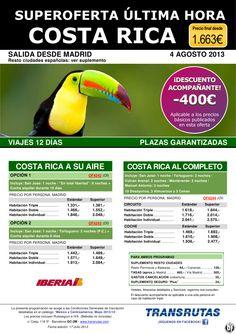 COSTA RICA /12 días ¡¡Última Hora 4 Agosto / -400 dto. acomp.!! sal. Madrid y ciudades españolas - http://zocotours.com/costa-rica-12-dias-ultima-hora-4-agosto-400-dto-acomp-sal-madrid-y-ciudades-espanolas/