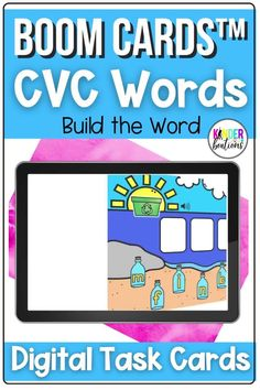 This beach themed bundle of CVC Words Boom Cards includes 6 different literacy digital task card decks with audio directions and support. Includes one deck for each short vowel and one deck of mixed vowels. These self-checking digital task cards are perfect for your kindergarten or first grade learners. They can be used for distance learning, home learning, or in the classroom. #kindergarten #boomcards #literacy #distancelearning #literacycenters