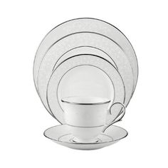 Lenox Opal Innocence Platinum-Banded Bone China 5-Piece Place Setting,... ($130) ❤ liked on Polyvore featuring home, kitchen & dining, dinnerware, lenox dinner plates, dinner-ware, polka dot dinner plates, dinner plates and polka dot dinnerware