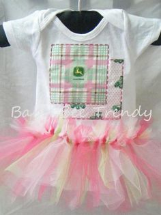 John Deere Pink Patches Tutu Short-Sleeve Onesie, available in sizes 3m, 6m, 9m, 12m, 18m