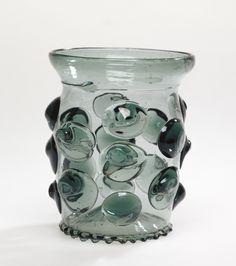 Prunted Beaker (Krautstrunk); Unknown; 1490 - 1530; Free-blown blue-green glass with applied decoration; 10.5 x 8.7 cm (4 1/8 x 3 7/16 in.); 84.DK.525